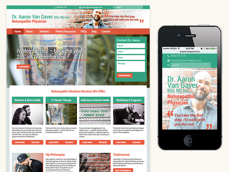 Dr Aaron Van Gaver Website (Responsive, WordPress)
