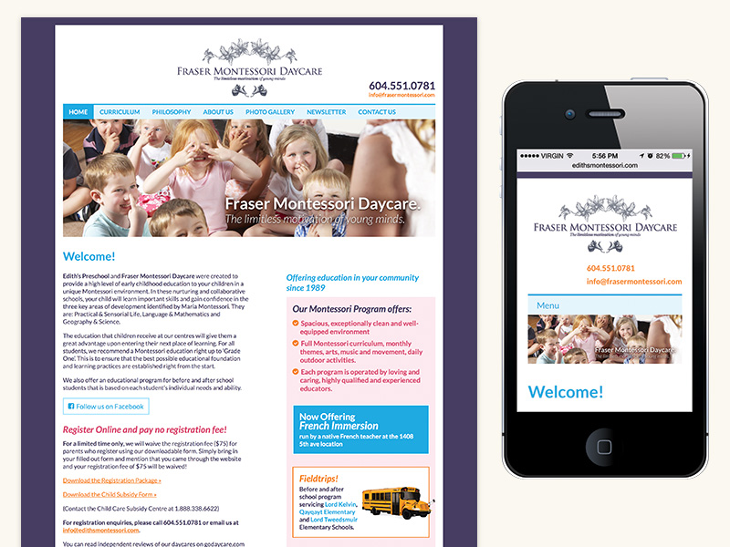 Fraser Montessori Website (WordPress, Responsive)