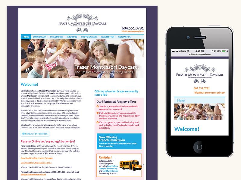 Fraser Montessori Website (WordPress, Responsive)