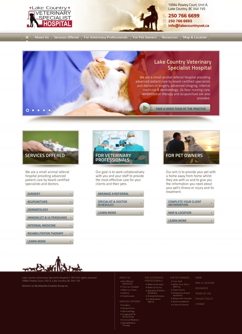 Lake Country Veterinary Hospital Website