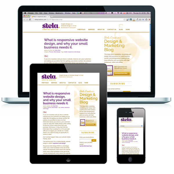 Stela Creative's Responsive website design