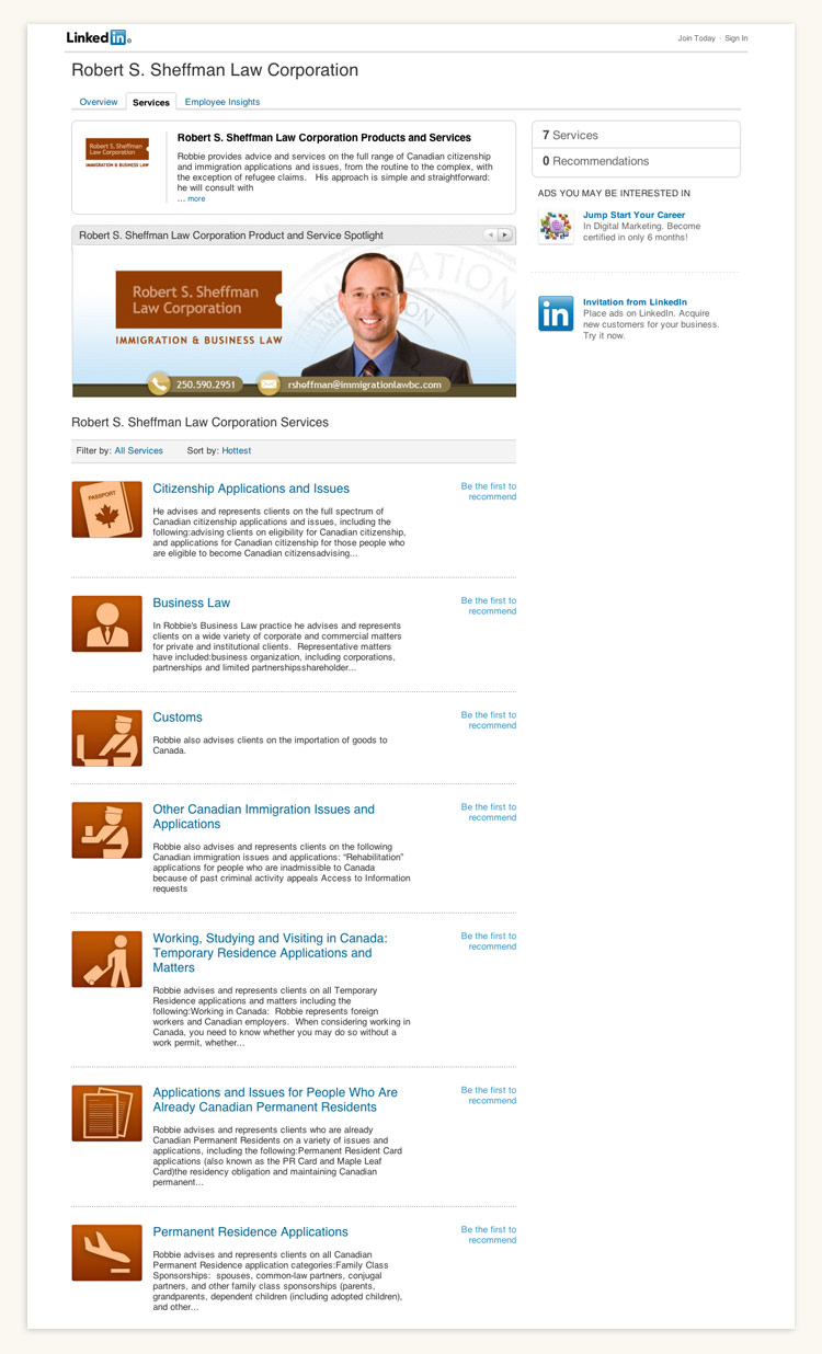 Robert S. Sheffman Law Corporation Linkedin