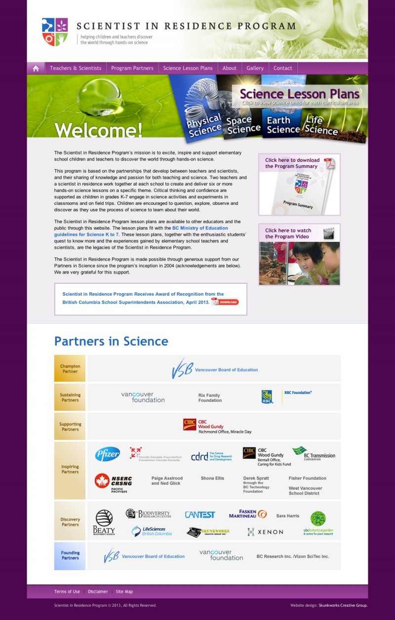 Scientist in Residence Program Website