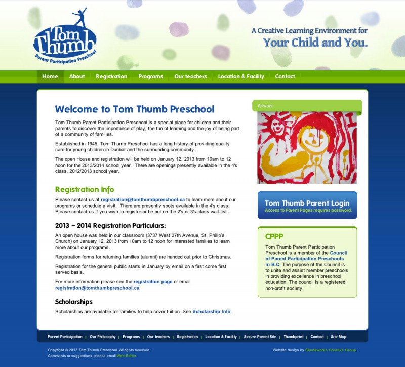 Tom Thumb Preschool Website