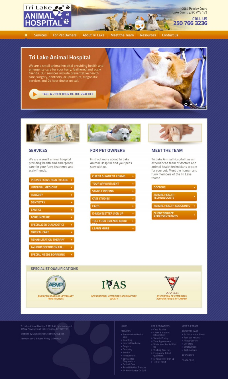 Trilake Animal Hospital Website