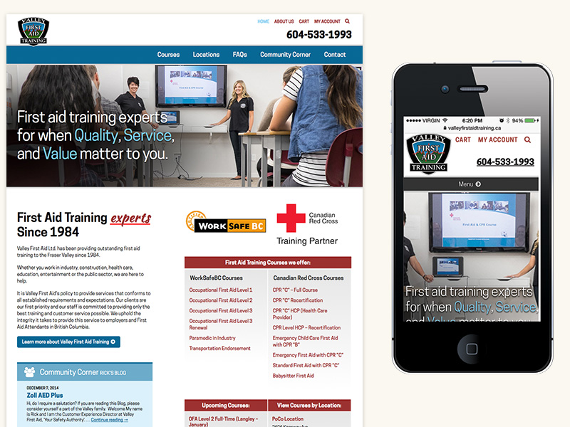 Valley First Aid Training Website (WordPress, Responsive)