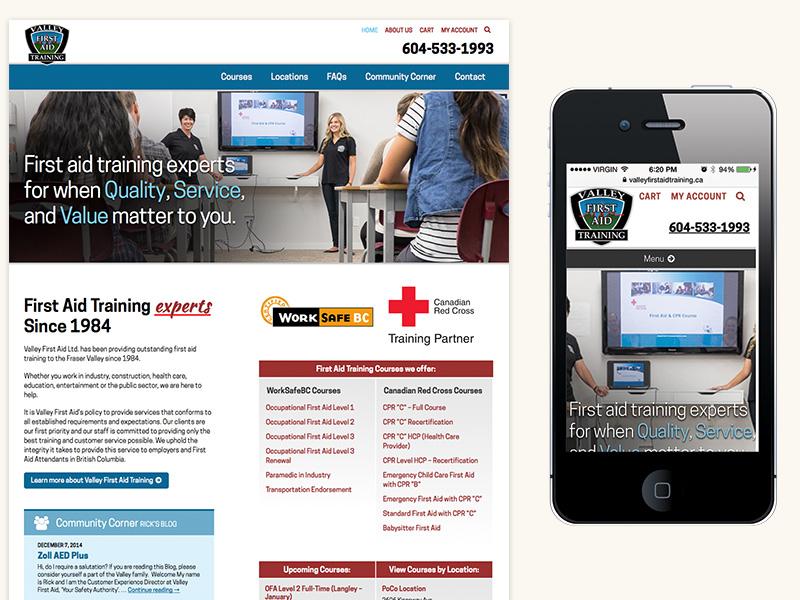 Valley First Aid Training Website (WordPress, Responsive)